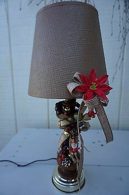 "Christmas 12"" Table Lamp ~ Vintage 80's ~ Traditional Woodland Decor w/ Shade"