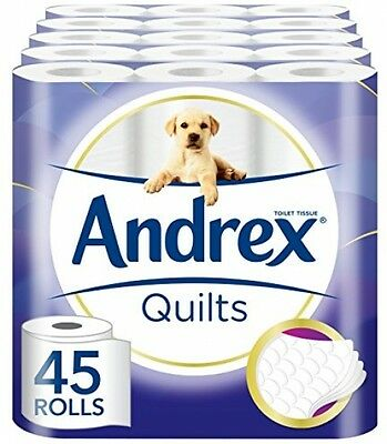 Toilet Roll Tissue Paper 45 Rolls Andrex Quilts Household Hygiene Supplies Home