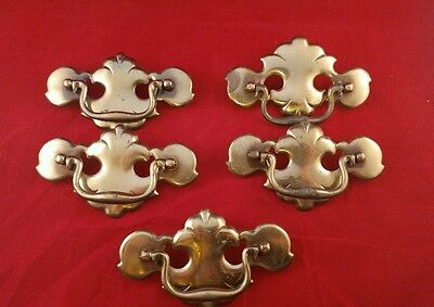 Lot of 5 vintage brass drawer pulls.