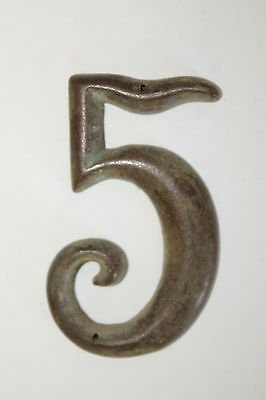 Antique Brass Door House Number 5 Address 3'' Tall