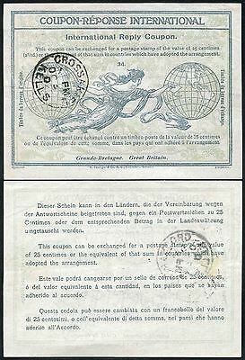 1907 OCTOBER Early Use REPLY PAID COUPON IRC USED SCOTLAND CROSSAKIEL