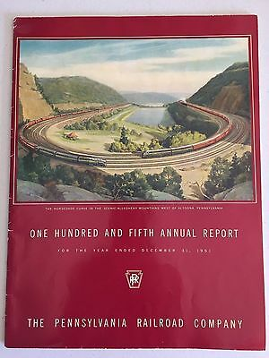 1951 Pennsylvania Railroad PRR Annual Report - Horse Shoe Curve on Cover