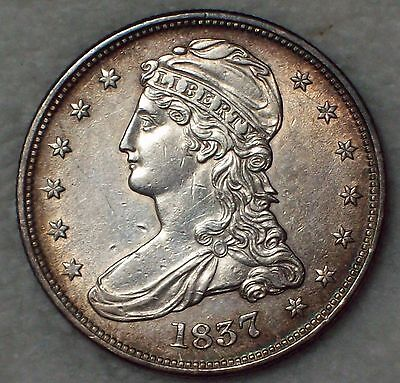 1837 SILVER Bust Half Dollar Reeded - AU Detailing *RARE Authentic -Some Luster
