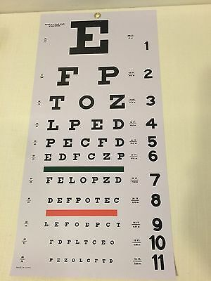 New 22' X 11' Grafco 1240 Snellen Hanging Eye Chart 20 DIS Non-Reflective Finish