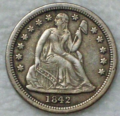 1842 Seated Liberty DIME Authentic SILVER XF Detailing RARE US Coin 10c