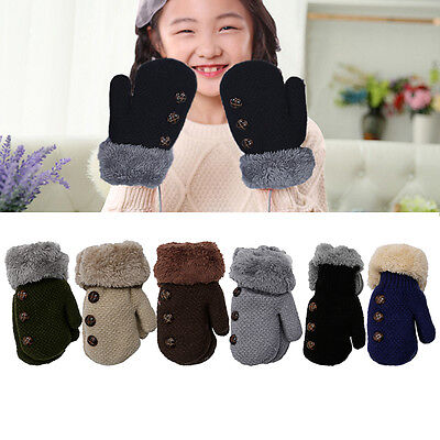 Kids Students Winter Warm Knitted Gloves Thickened Glove W/ Neck String 1Pair