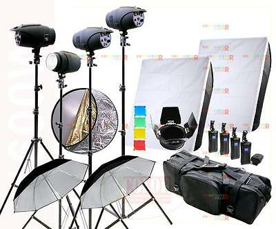 New 1600W Studio Strobe Flash Lighting Kit 4 x 400W Light