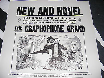 Vintage SEARS Roebuck The GRAPHOPHONE GRAND Advertising Poster LARGE Victrola