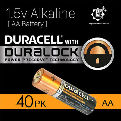 40X New Genuine Duracell 1.5v AA Size Alkaline Batteries Duralock power battery