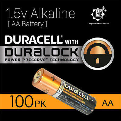 100X New Genuine Duracell 1.5v AA Size Alkaline Batteries Duralock power battery