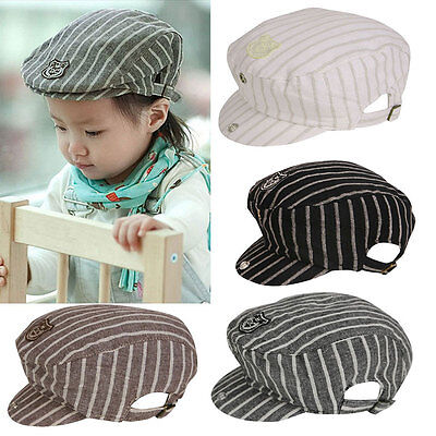 NEW Toddler Infant Kid Baby Boy Stripe Baseball Casquette Beret Cap Duckbill Hat