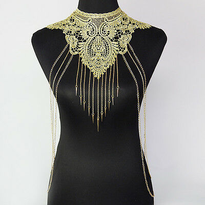 Lace Flower Collar Gold Body Chain Women Hollow out Big Gothic Necklace Gift
