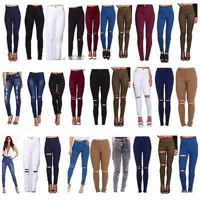 Womens High Waisted Ripped Skinny Jeans Ladies Jeggings 6/8/10/12/14/16/18/20/22