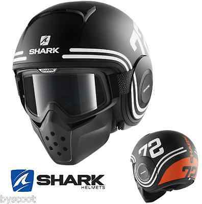 Casque SHARK RAW 72 Mat noir orange lunette jet moto scooter Football Américain