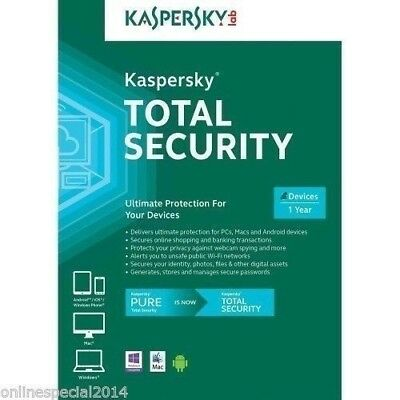 Kaspersky Pure TOTAL Security Multi Device 2 Year 3 DEVICES 2017-2019 KEY A+