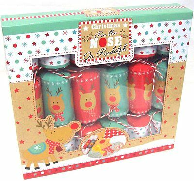Pack Of 6 Fun Family Games Christmas Crackers Pin The Nose On Rudolph Game