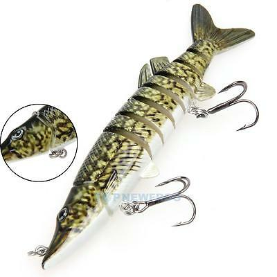 "5"" Multi-jointed 8-segement Pike Muskie Fishing Lure Crankbait Hard Bait Hook"