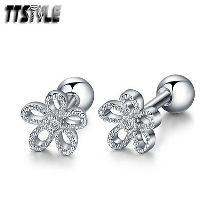 TTstyle Surgical Steel Flower Fake Ear Cartilage Tragus Earrings A Pair NEW