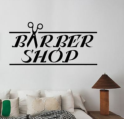 Barbershop Logo Wall Decal Vinyl Sticker Window Art Hair Beauty Salon Decor bs6
