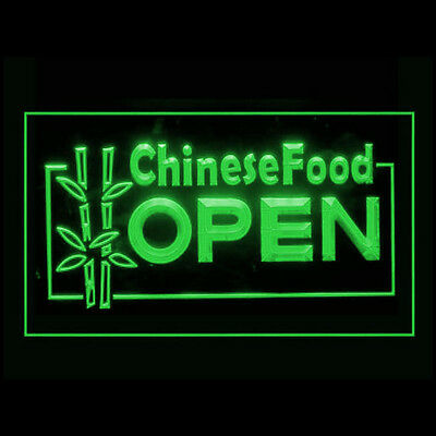 110008 OPEN Chinese Food Bamboo Dim Sum Spring Roll Traditional LED Light Sign