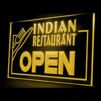110044 Indian Restaurant Open Food Cafe Curry Delicious Luxury LED Light Sign