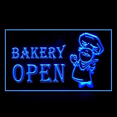 110063 OPEN Bakery Shop Bread French Toast Homemade Croissant LED Light Sign