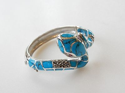 Fine 925 Silver Turquoise Marcasite & Ruby Snake Cuff Bracelet Hallmarked