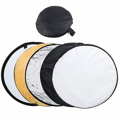 """60cm 24"""" 5 in 1 Photography Studio Multi Photo Disc Collapsible Light Reflector"""