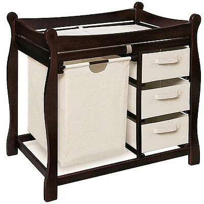 Sleigh Style Espresso Changing Table with Hamper and Baskets Nursery Furniture