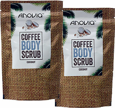 Anovia Coconut Coffee Body Scrub 150g X2 TWIN PACK- Robusta Coffee Beans,UK Made