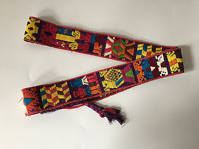 "Vibrant Woven Wide Belt Strap Tie Oaxaca 2.5"" x 72"" Embroidered Colorful Luggage"