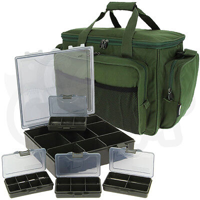 Green Insulated Carryall Holdall Bag With 4+1 Tackle Bit Box Set Carp Fishing