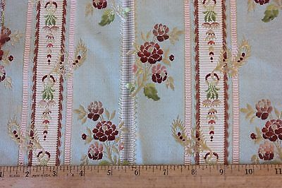 """Lovely 19thC Antique Silk French Roses On Blue Ground Brocade~9""""L X 11""""W~HomeDec"""