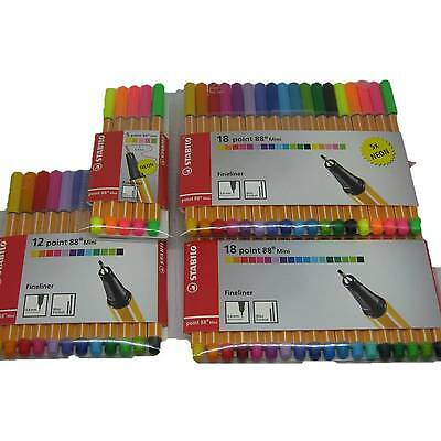 Stabilo Point 88 Mini Fineliner 5 8 12 18 Format klein 0,4 mm Stifte Set Etui