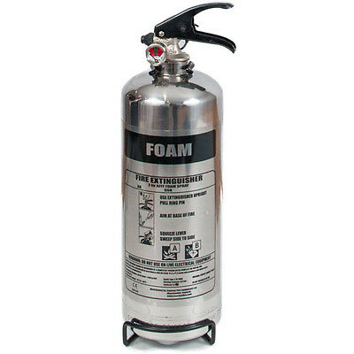 1ltr AFFF Foam Polished Chrome Fire Extinguisher FREE POSTAGE & FAST SHIPPING