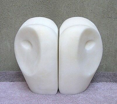 """Modern & Stylish Pair of Solid White Soapstone """"Owls"""" Carved Book Ends 5"""" Tall"""