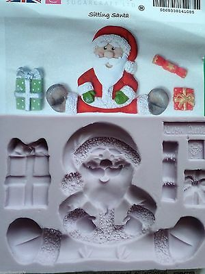 Karen Davies Sitting Santa presents & crackers Christmas Sugarcraft Mould