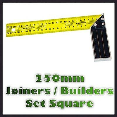 "250mm 10"" Hardened Steel Set Square Tempered Measure Carpenter Builder Diy Tool"
