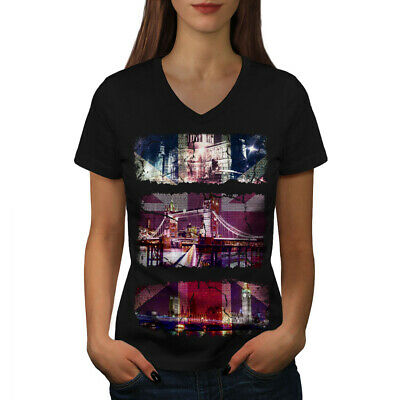 London in Heart of British Flag Ladies fitted T Shirt Girls Women Tops Tees