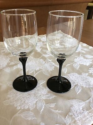 Set 2 ~ Cristal D'Arque Luminarc Black Stem Wine Goblets - FRANCE ~ EUC.
