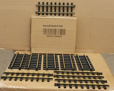 New Bright G Scale 9 pc.Straight Track Sections #384S indoor outdoor 3807