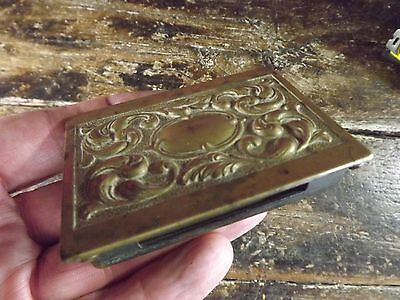 Antique Brass Metal Swan Vesta Match Cover With Hole For Striking 3.5 X 2.5 In