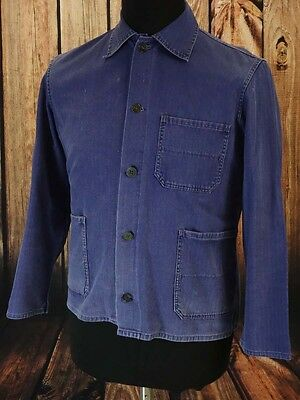 Worker jacket TRUE VINTAGE work chore boho french cotton blue  Size M  (VJ167)