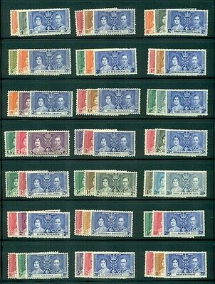 GREAT BRITAIN 1937 CORONATION Issue - 45 diff countries, including Hong Kong NH