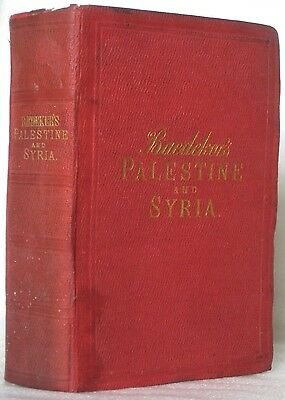 Original 1876 BAEDEKER'S PALESTINE SYRIA First Edition Jerusalem Panorama Maps