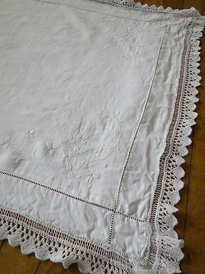 Antique Linen Pillow Case Sham- Hand Embroidered Whitework Shamrocks & Lace