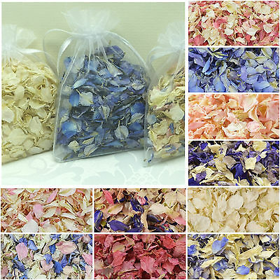 Luxury WEDDING CONFETTI Biodegradable Dried Delphinium Petals ORGANZA BAGS