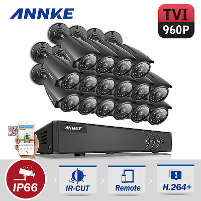 ANNKE 16CH  H.264+ DVR 2000TVL TVI Video Home Surveillance Camera System 960P HD