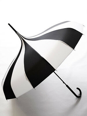 Black/White Striped Pagoda Carousel Hook Pointy Umbrella Gothic Witchy Victorian