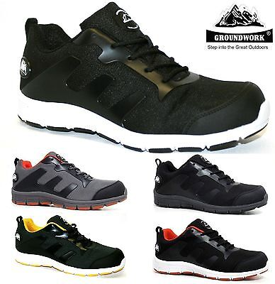 Mens Groundwork Ultra Lightweight Work Steel Toe Cap Safety Trainers Shoes Boots